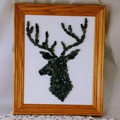 Deer art, pebble art, abstract, wall art, nursery art, home decor, beach art, woodland art, wood frame, handmade, nature, antler, buck, elk by rockchicoz on Etsy