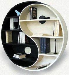 yin yang cardboard bookshelf