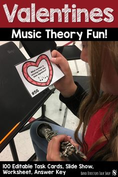 If you are looking for a fun Valentines music activity for your students, they will have a blast using these 100 editable &printable music theory task cards! There are multiple uses including a music write the room activity, scavenger hunt, centers & scoot! A Powerpoint slide show is included and perfect for leaving as a non music sub plan in your music teacher sub tub. Great for upper elementary music and middle school valentines music lessons. #valentinesmusicactivity #musiceducation… Music Theory Games, Music Education Games, Music Activities, Rhythm Games, Music Games, Music Sub Plans, Music Lesson Plans, Music Lessons, Elementary Music