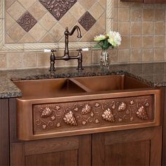 """Tuscany Series Double Well Copper Farmhouse Sink with Grape Motif - 36"""""""