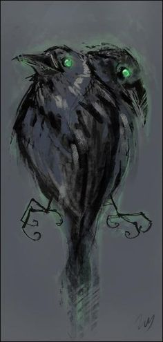 Odin's ravens - Huginn and Muninn. Translated as Thought and Memory. #Arts Design by josephine