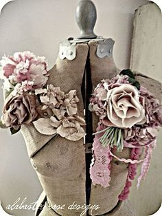 antique dress form with flowers
