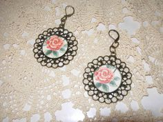 Romantic Antiqued Flower earrings from Past Times by eltsamp, $27.00