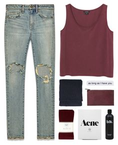 """""""s l e e p - i s - o v e r r a t e d"""" by thenewgirl3 ❤ liked on Polyvore featuring Yves Saint Laurent, Monki, J.Crew, Topshop, Violeta by Mango, white, black, jeans and maroon"""