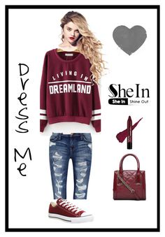 """Shen Red Sweatshirt Contest"" by divergentjen ❤ liked on Polyvore featuring Current/Elliott, Converse and Bebe"