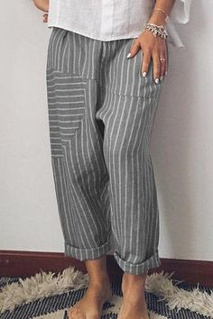 Striped Patchwork Elastic Waist Casual Pants For Women is necessary for cold weather, NewChic will show cheap trendy women Pants & Capris for you. Gris Rose, Wide Leg Linen Pants, Summer Stripes, Stripes Fashion, Cotton Pants, Printed Pants, Mode Style, Casual Pants, Denim Jeans