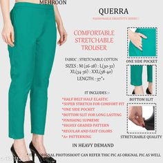 Trousers & Pants Trendy Retro Women Women Trousers  Fabric: Cotton Lycra Sizes:  34 (Waist Size: 34 in, Length Size: 37 in)  36 (Waist Size: 36 in, Length Size: 37 in)  26 (Waist Size: 26 in, Length Size: 37 in)  38 (Waist Size: 38 in, Length Size: 37 in)  28 (Waist Size: 28 in, Length Size: 37 in)  40 (Waist Size: 40 in, Length Size: 37 in)  30 (Waist Size: 30 in, Length Size: 37 in)  32 (Waist Size: 32 in, Length Size: 37 in)  Country of Origin: India Sizes Available: 26, 28, 30, 32, 34, 36, 38, 40, 42   Catalog Rating: ★4.3 (981)  Catalog Name: Pretty Designer Women Women Trousers CatalogID_2701679 C79-SC1034 Code: 903-13711343-327