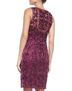 Sleeveless Lace-Overlay Cocktail Dress, Plum