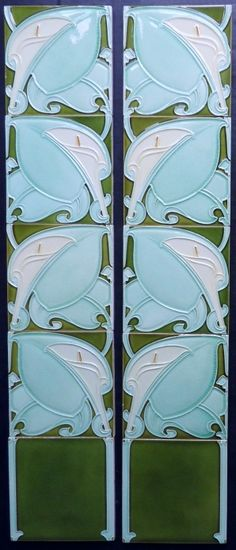 Antique Art Nouveau tile panel/fireplace set from Tile Heaven. Molded majolica, made by Alfred Meakin, 1904 - 1907 | JV