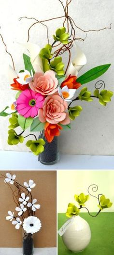 Large Arrangement of beautiful paper flowers. Diy Paper, Paper Art, Paper Crafts, Origami, Crepe Paper Flowers, Fabric Flowers, Faux Flowers, Diy Flowers, Flower Bouquets