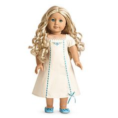 American Girl® Dolls: Caroline's Nightgown for Dolls: White nightgown, square neckline, short sleeves. Lace trim around neckline. Blue ribbon woven through lace and sewn down princess seams. Flower embroidery.