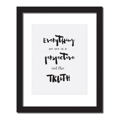 Inspirational quote print 'Everything we see is a perspective not the truth - Marcus Aurelius'