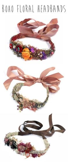 Boho Floral Headbands #Festival #Fashion (by Krista R at Bottica.com)