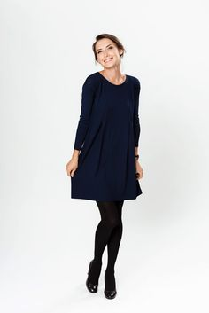 Dark blue dress, A line dress, viscose dress, plus size dress, LeMuse dress designed and sewed by LeMuse.  When you dress LeMuse dark blue A line dress you feel sensible and adorable. LeMuse hides all imperfections and makes you perfect.  DRESS SPECIFIC: - Ready to ship. - Fits for any body