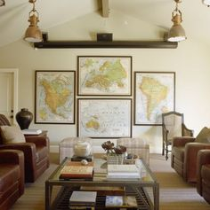 Decorating with Maps | Sarah Barksdale Design Very nice layout - pulls the eye to the end of the room