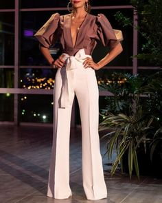 High Waist Tied Waist Pants plus 🔥🔥🔥🔥🔥 by Apparel Look Fashion, Womens Fashion, Fashion Design, Mode Costume, Cocktail Outfit, Pants Outfit, Women's Pants, Classy Outfits, Pattern Fashion
