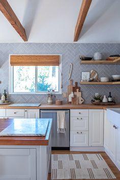 Designing Brick Kitchens for Your Style Home   Fireclay Tile Eclectic Kitchen, Scandinavian Kitchen, White Herringbone Tile, Grey Tiles, Interior Styling, Interior Design, Fireclay Tile, Farmhouse Design, Kitchen Backsplash