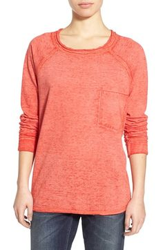 Free shipping and returns on Stem Burnout Raw Edge Sweatshirt at Nordstrom.com. Laid-back burnout patterning lends off-duty vibes to a relaxed-fit pullover sweatshirt styled with long raglan sleeves and a sporty chest patch pocket. Raw edges and breezy side vents complete the casual-cool look.