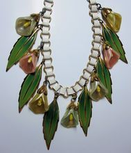 Vintage Coro Calla Lily Necklace Enamel Book Chain Links