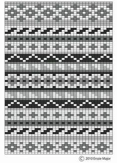 Erssie - Knitting Charts - Small Fair Isle Borders fair isle pattern - beautiful as an embroidery pattern too. border ideas for fair isle designs Always aspired to discove. Fair Isle Knitting Patterns, Bead Loom Patterns, Knitting Charts, Easy Knitting, Loom Knitting, Knitting Stitches, Knitting Designs, Knitting Tutorials, Knitting Machine