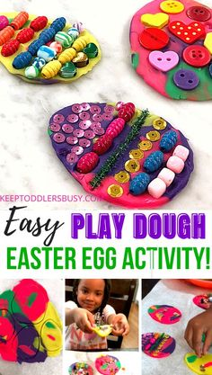 This contains: Easter Crafts For Preschoolers Are A Great Way To Celebrate The Season! This Simple Play Dough Easter Egg Activity Also Doubles As A Fine Motor Skills Builder! Sensory Activities For Preschoolers, Summer Activities For Kids, Holiday Activities, Preschool Activities, Motor Activities, Easter Crafts For Kids, Summer Crafts, Preschool Crafts, Holiday Crafts