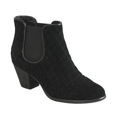 Ciao Bella Cary Quilted Bootie ($124) ❤ liked on Polyvore featuring shoes, boots, ankle booties, black suede, black bootie, leather ankle boots, leather boots, black leather cap and black leather ankle booties