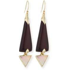 Alexis Bittar Lucite Dangle Earrings with Mother-of-Pearl ($150) ❤ liked on Polyvore featuring jewelry, earrings, black cherry, lucite earrings, triangle earrings, black triangle earrings, mother of pearl earrings and carved earrings