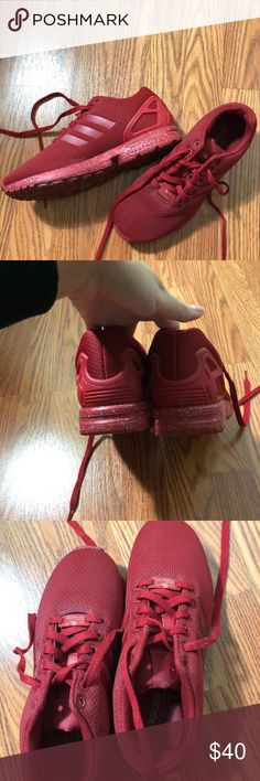 Red Adidas ZX Flux Worn couple times, not too beat up, good condition adidas Shoes Athletic Shoes