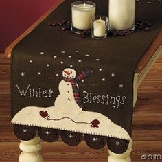 Winter Blessings table runner - I thought of you, @Angie Aubrey, when I saw this.