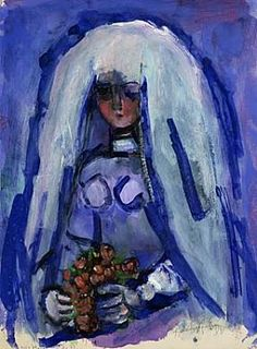Study for the Bride, Abraham Rattner, watercolor and gouache, Smithsonian American Art Museum, Bequest of Abraham Rattner