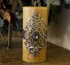 luxury pillar candle swarovski oval patterned embellished candle 112 gold 4x9 ebay - Decorative Candles