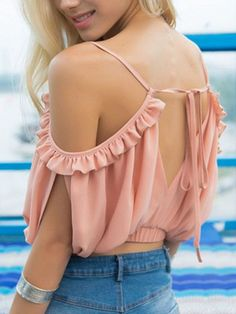 Stay cool and stylish this summer in this gorgeous ruffle blouse! Made from a microfiber fabric for ultimate comfort. Free Worldwide Shipping & Money-Back Guarantee SIZE SHOULDER LENGTH L 15 15 XL 15 15 Note: Sizes are in inches. Casual Outfits, Cute Outfits, Fashion Outfits, Crop Tops Online, Shoulder Tattoos For Women, Stylish Blouse Design, Fashion Designer, Elle Magazine, Blouse Styles