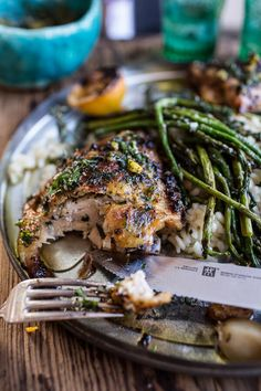 Garlic Butter Roasted Chicken Thighs with Charred Lemon Salsa Verde + Asparagus