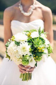dahlia, hypericum, hydrangea bridal bouquet