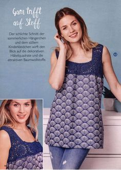 Filethakeln FI415 2018 — Hakelideen. — HandMade Vest, Handmade, Jackets, Fashion, Cotton Textile, Cotton, Gowns, Down Jackets, Moda