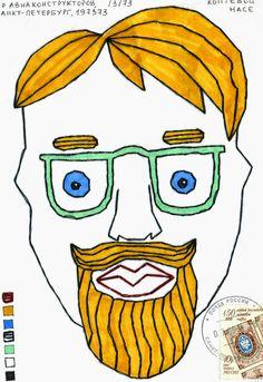 FISH MAIL ART: мэйл-арт конверты, объекты и открытки наси коптевой и саши браулова: embroidered faces 3