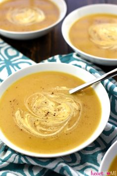 Slow Cooker Butternut Squash Soup ~ silky and delicious, packed with vitamins, and as effortless as tossing frozen butternut squash cubes into the crock pot!   FiveHeartHome.com