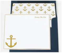 Gold Anchor Personalized Note Cards | Shop Dandy