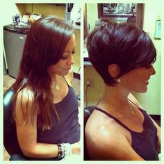 132785888986407631 Im too chicken to ever cut my hair this short, but it looks great. This pic shows that longer is not always better!