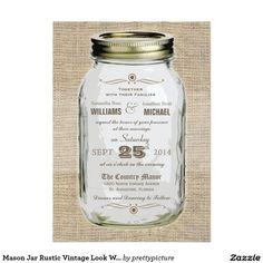 """Mason Jar Rustic Vintage Look Wedding Invitation 5"""" X 7"""" Invitation Card"""