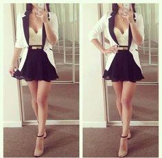 Black Flare mini skirt. cream blazer trimmed with black, cream top, cream and black strap sandal. Cute ~ fashionfrix.blogspot.com