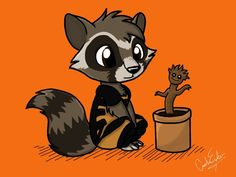 Rocket Raccoon and Baby Groot by songthedemonpuppy on DeviantArt