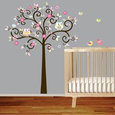 Another cute owl/bird/tree motif wall decal...omg forget baby room i want this tree anywhere in my house!