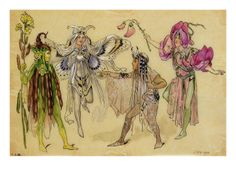"""Four Fairy Costumes for """"A Midsummer Night's Dream"""", Manchester, 1896-1903"""