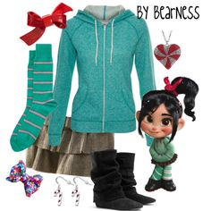 Vanellope inspired outfit any sweet sugg. Below plz💙💙💛💙💜❤️💚 Princess Inspired Outfits, Disney Themed Outfits, Disney Inspired Fashion, Character Inspired Outfits, Disney Dresses, Disney Clothes, Disney Fashion, Tokyo Fashion, Casual Cosplay