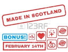 Made In Scotland text rubber seal stamp watermark with Valentines sale bonus. Captions inside rectangular shape with grunge design and dirty texture. Vector emblems for trading on a white background.