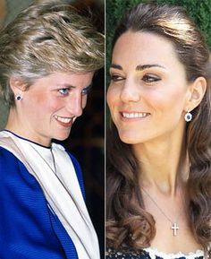 Prince William gave Kate a pair of Diana's favorite earrings, sapphire and diamonds that match her engagement ring. Kate opted to give the earrings a modern twist by having the studs remodeled to drop earrings.