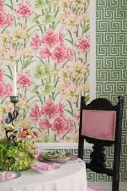 Exotiks Floral Pink Wallpaper from Cole & Son Historic Royal Palaces Collection. A stunning and lush floral wallpaper with pink and yellow petals amongst verdant green foliage on an off white background. Grey Floral Wallpaper, Green Wallpaper, Colorful Wallpaper, Royal Wallpaper, Amazing Wallpaper, Botanical Wallpaper, Belladonna Flower, Queen Mary Ii, Cole Son