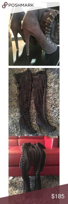 "**TRENDING** ZIGI Girl Over the Knee Peep Toe Boot ZIGI Girl Piarry Suede Black Peep Toe Over the Knee Boot * Size - 7 US * Width - Medium * Material - Suede * True Color - Black  * Heel Height - 5 inches  * Model Height - 5'2""  ZIGI Girl Shoes Over the Knee Boots"