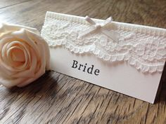 Handmade Lace Vintage Wedding Place Name Cards / Favours Ivory Ribbon Rustic Rustic Wedding Stationery, Wedding Stationary, Wedding Show, Our Wedding, Dream Wedding, Wedding Place Names, Wedding Mood Board, Name Cards, Crock Pot